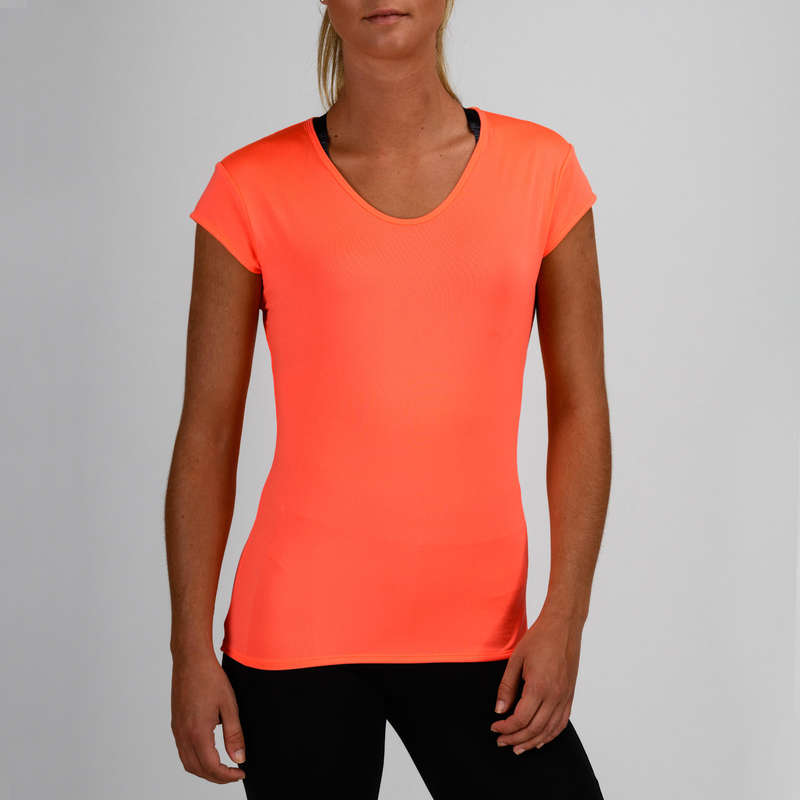 WOMAN FITNESS ENERGY APPAREL Clothing - FTS 100 T-Shirt - Coral DOMYOS - Tops