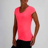 T-shirt entraînement cardio femme rose fluo 100