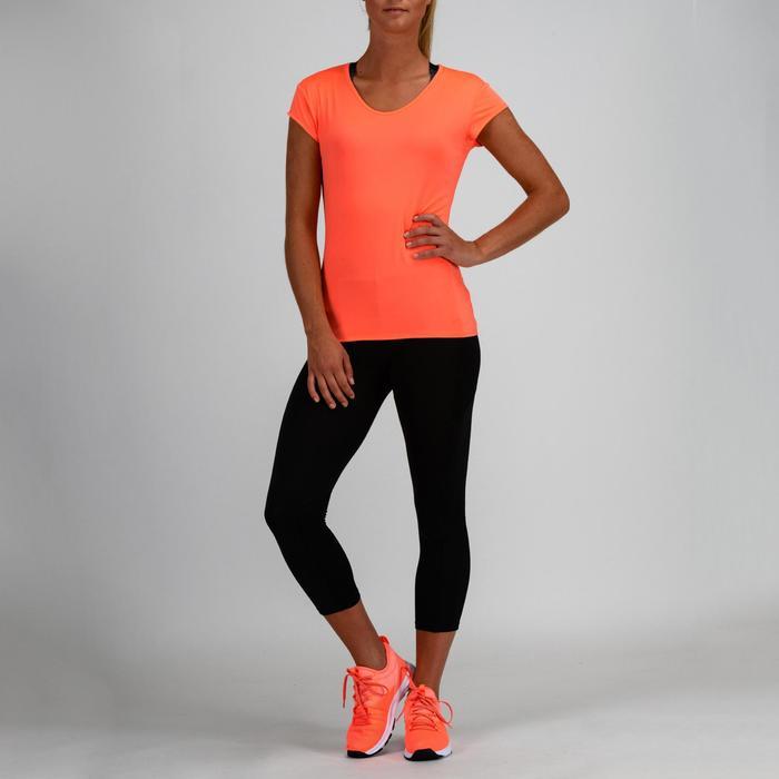 Fitness shirt 100 voor dames, koraal