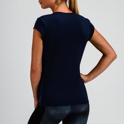 T-shirt cardio fitness femme bleu marine 100