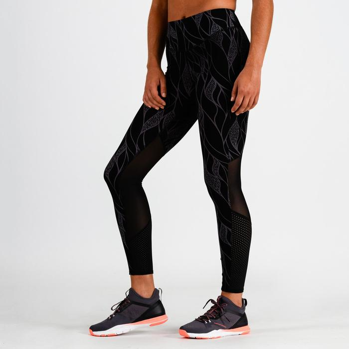 Cardiofitness legging 900 voor dames zwart met lila print