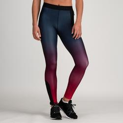 Leggings cardio fitness mujer degradación burdeos 500
