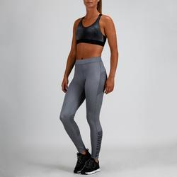 Mallas Leggings Deportivos Cardio Fitness Domyos 120 mujer gris