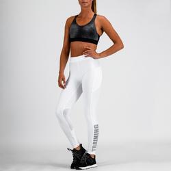 Mallas Leggings Deportivos Cardio Fitness Domyos 120 mujer blanco