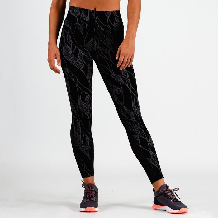 Leggings FTI 900 Fitness/Ausdauertraining Damen schwarz mit lila Print
