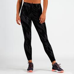 Leggings cardio fitness mujer negro estampado lila 900