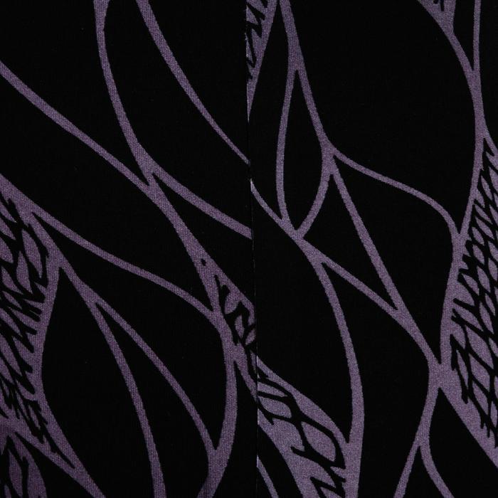 Legging cardio fitness femme noir imprimé lilas 900