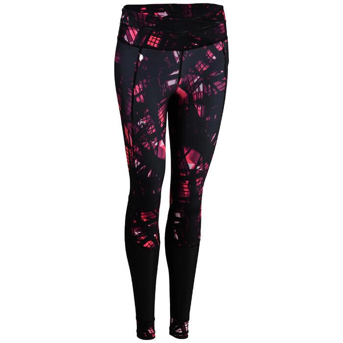 Fitness legging 520 voor dames, zwart/roze