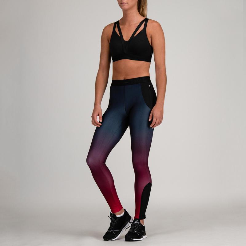 a5bcf22dd Mallas Leggings Deportivos Cardio Fitness Domyos 500 mujer burdeos