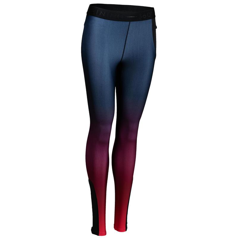 500 Women's Cardio Fitness Leggings - Burgundy Ombre