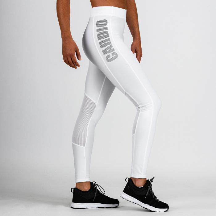 Leggings cardio fitness mujer blanco 120