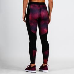 Leggings cardio fitness mujer burdeos estampado 120