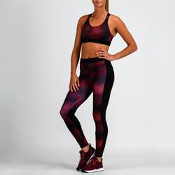 Mallas Leggings Deportivos Cardio Fitness Domyos 120 mujer negro burdeos