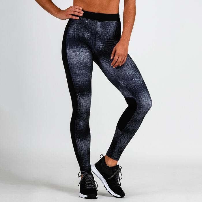 Mallas Leggings Deportivos Cardio Fitness Domyos 120 mujer gris estampado