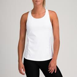 Débardeur 3 en 1 cardio fitness femme blanc et imprimé 520
