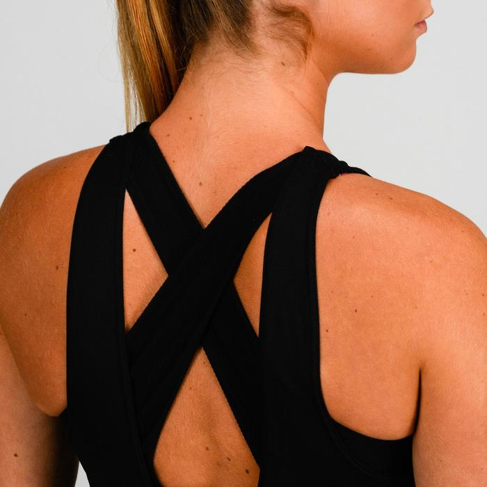 Cardiofitness topje met ingewerkte beha voor dames 500 zwart met print