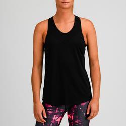 Camiseta sin mangas Top integrado Cardio Fitness Domyos FTB 500 mujer negro