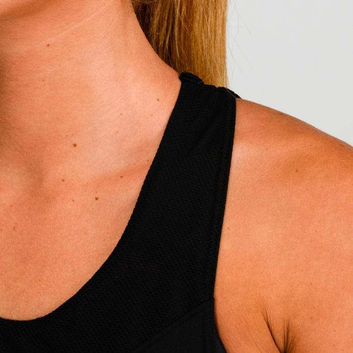 Fitness top 500 met ingewerkte bh voor dames, zwart met print