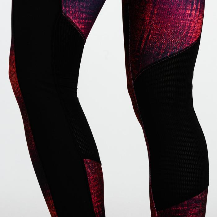 Leggings cardio fitness mujer burdeos estampado 120