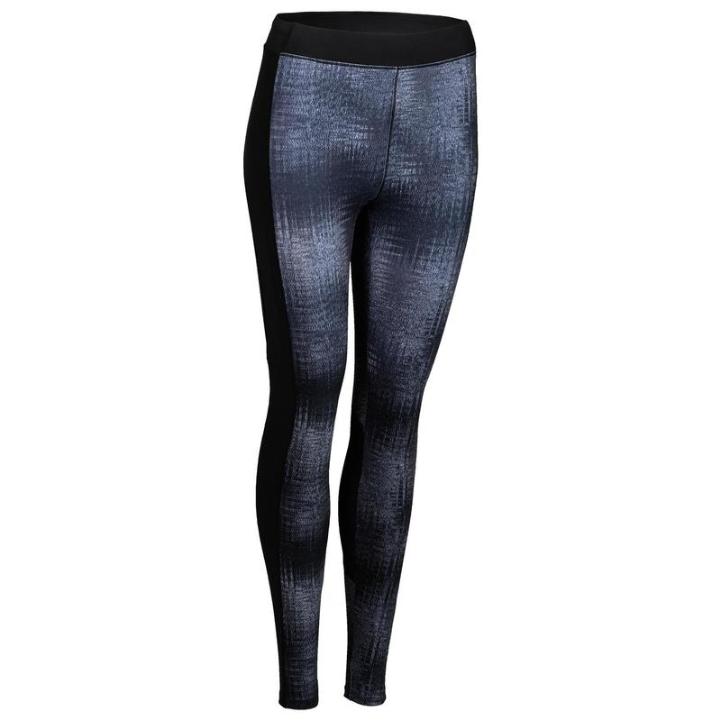 532f64143e529 Mallas Leggings Deportivos Cardio Fitness Domyos 120 mujer gris estampado