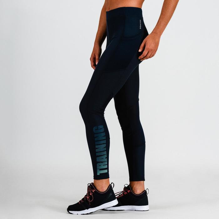 Legging cardio fitness femme bleu marine 120