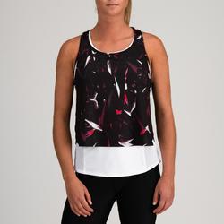 Camiseta sin mangas 3 en 1 Cardio Fitness Domyos FTA 520 mujer negro estampado