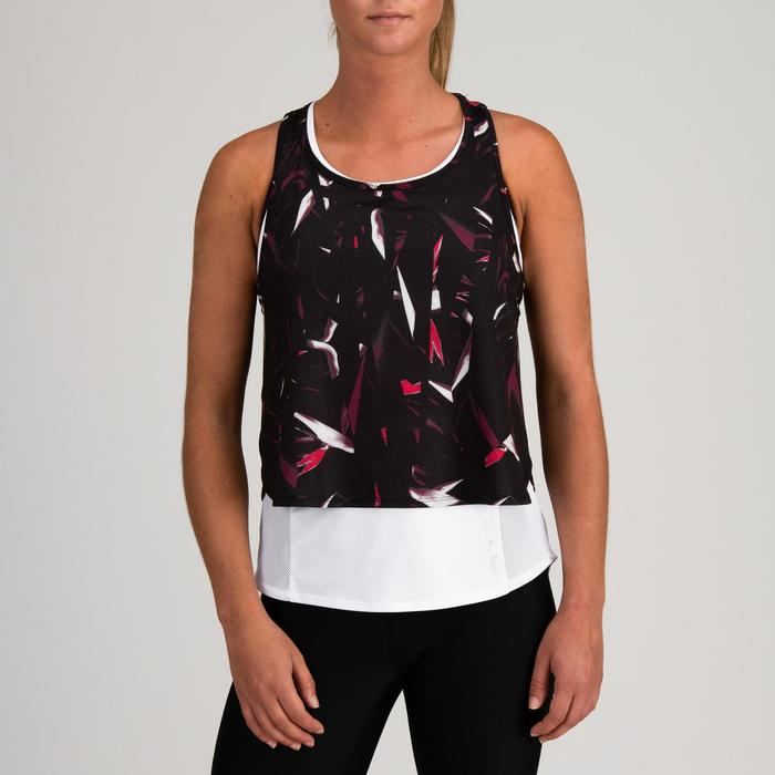 Fitness top 520 3-in-1 voor dames, zwart/wit