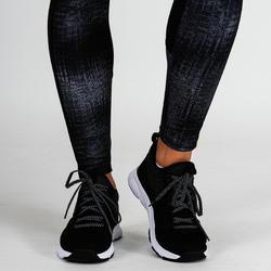 Legging entraînement cardio femme gris imprimé 120