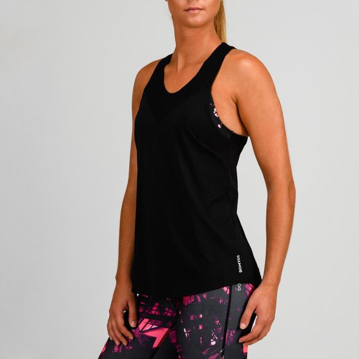 Top FTA 500 mit integriertem Bustier Fitness Cardio Damen schwarz mit Print