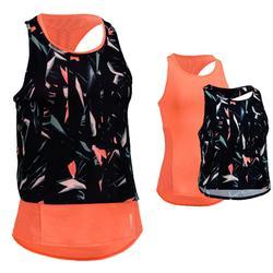 Camiseta sin mangas 3 en 1 cardio fitness Domyos 520 mujer melocotón estampado