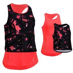 女款3合1有氧訓練健身背心FTA 520-珊瑚紅印花