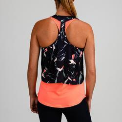 3-in-1 top fitness cardiotraining dames 520 perzik en print