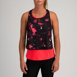 Camiseta sin mangas 3 en 1 Cardio Fitness Domyos FTA 520 mujer rosa