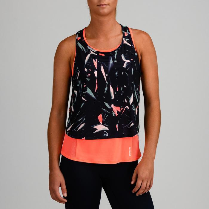 Top 3-in-1 FTA 520 Fitness Cardio Damen orange mit Print