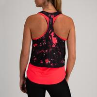 Camisole 3-en-1 entraînement cardio femme corail et imprimé 520