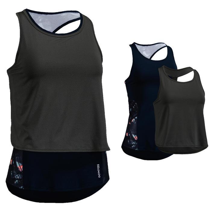 Débardeur 3 en 1 cardio fitness femme bleu marine et kaki 520