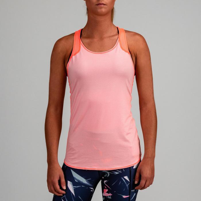Débardeur réversible cardio fitness femme pêche et rose pâle 520