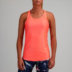 Camiseta sin mangas reversible Cardio Fitness Domyos FTA 500 mujer rosa coral