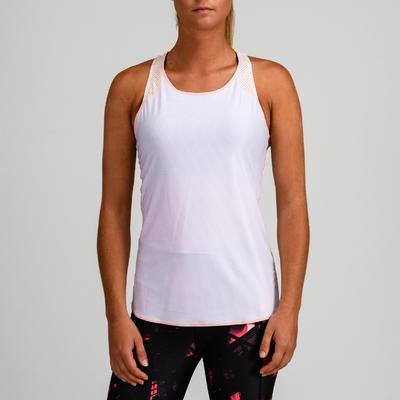 Camiseta sin mangas reversible Cardio Fitness Domyos 520 mujer rosa blanco