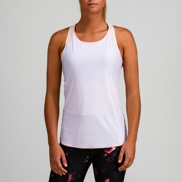Débardeur réversible cardio fitness femme rose pâle et blanc 520