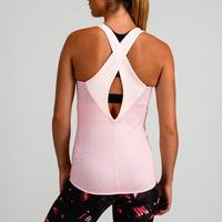 Camisole réversible entraînement cardio femme rose pâle et blanc 520
