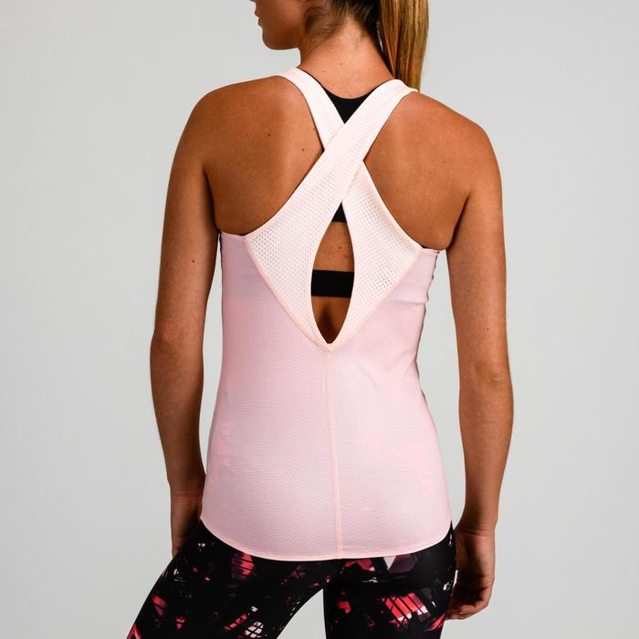 Fitness top 520 voor dames omkeerbaar, roze/wit
