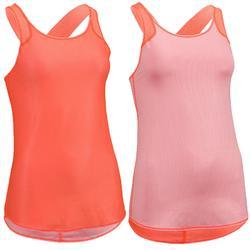 Keerbare top voor cardiofitness dames perzikoranje/roze 520