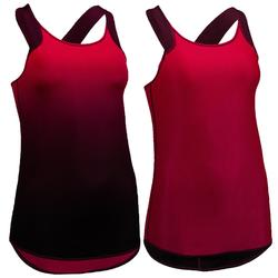 Fitness top 520 voor dames omkeerbaar, bordeaux/rood