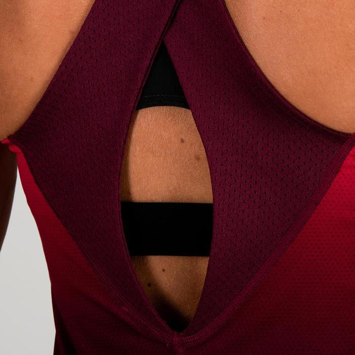 Omkeerbare damestop 520 voor cardiofitness roze framboosrood