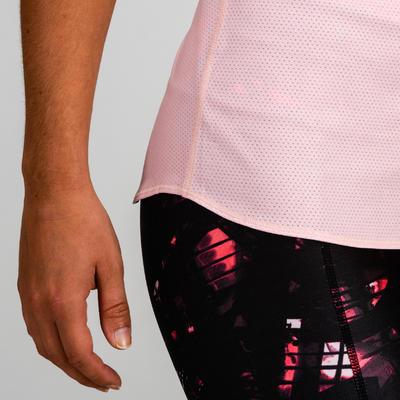 Camiseta manga sisa reversible cardio fitness mujer rosado clarito y blanco 520