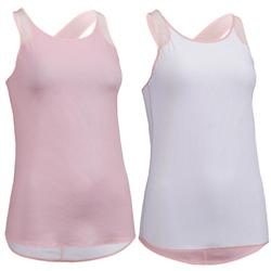 Camiseta sin mangas reversible cardio fitness mujer rosa claro y blanco 520