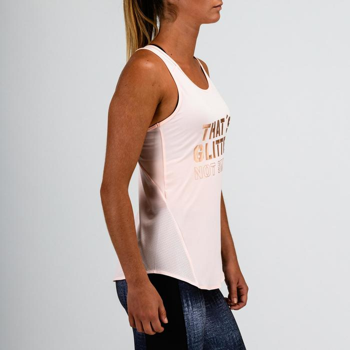 "Camiseta sin mangas cardio fitness mujer rosa claro estamp ""efecto satinado"" 120"