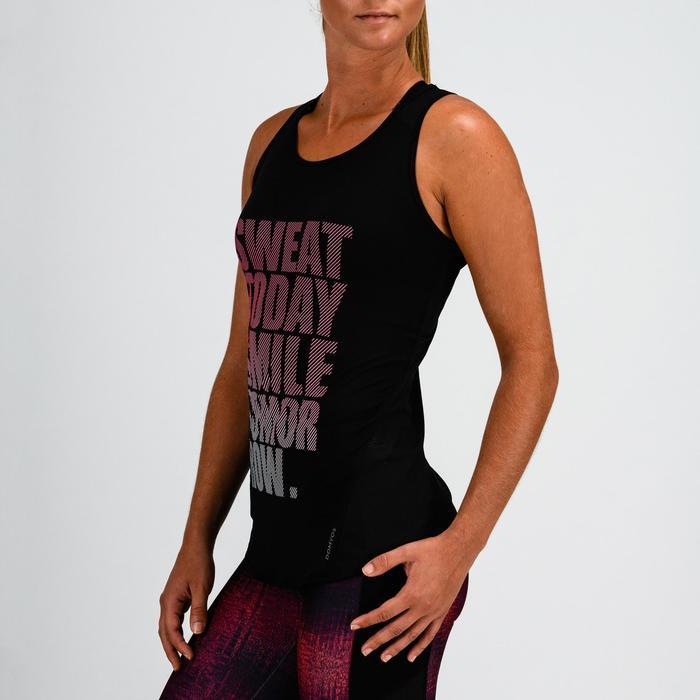 Débardeur cardio fitness femme noir imprimé 120