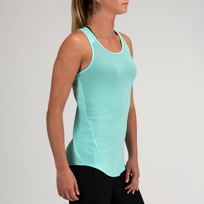 Débardeur cardio fitness femme bleu turquoise fines rayures 120